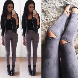 Wholesale Wholesale Faux Leather Trousers - Wholesale- 2016 Summer Women Faux Leather Skinny Pants Sexy Zipped Legging Stretch Slim Trousers Jeans