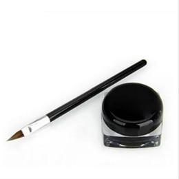 Liner eyeliner gel online-Cosmetic Waterproof Eyeliner Pencil Make Up nero Liquid Eyeliner Shadow Gel Makeup + Brush Black maquiagem