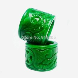 Wholesale Jade Rings Carvings - Natural hand carved banzhi rings for men fingerstall New fashion jewelry jade And U.s Size 9.5-10.25
