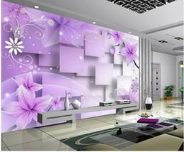 tallas de la pared china Rebajas Decoración para el hogar Sala de estar Arte Natural Flores de color púrpura cálida TV mural de la pared papel tapiz 3d Papeles de pared 3d para el telón de fondo de la televisión
