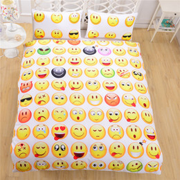 Wholesale Cheap Orange Bedding - Wholesale-Emoji Bedding 3D Duvet Cover Set Cheap 3D Duvet Cover Single Twin Full Queen 3D Bed Fashion Style For 3D Comforters
