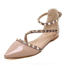 Wholesale Sexy Flat Women Shoes - New 2017 Fashion women Patent Leather rivets women flats shoes Sexy Pointed toe women low heels shoes woman