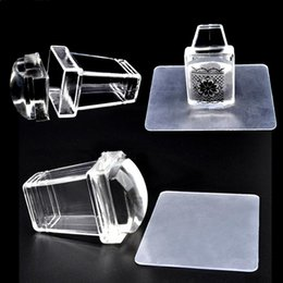 Wholesale Wholesale Clear Nail Sets - 2Pcs Set Nail Art Stamper Clear Jelly Silicone Stamper Plastic Plate Scraper Transparent Nail Stamp Transfer Nail Art Tools