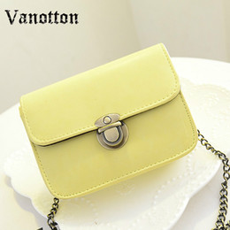 Wholesale Korean Leather Hobo Bags - New Fashion Women Messenger bags Chain Shoulder Bag PU Leather Candy Color Crossbody Mini Bag Pure Color B1010W