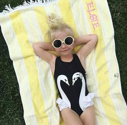 Wholesale Princess Swim - Baby Girls Lace Swan Rompers Princess Cotton Jumpsuits 2017 Babies Summer Cartoon Romper Newborn swim suit