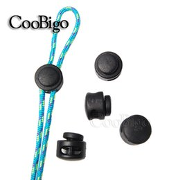 Wholesale Paracord Stopper - 25pcs Pack Plastic Cord Lock Clip Clamp 2 hole Toggle Stopper 2mm Rope Garment Paracord Shoes #FLS029-B