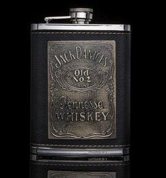 leder-hüftkolben 8oz Rabatt jennesse Whisky Luxus 304 Edelstahl Flachmänner 8oz Alkohol Flagon PU Leder Wein Topf Krüge jack danices Liquor Flachmann Drinkware