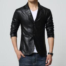 Wholesale jacket cuir men black - Mens leather jackets and coats faux soft Pu suede jacket giubbino pelle uomo chaqueta cuero blouson cuir home big size 6XL 7XL
