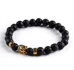 Wholesale Onyx Jewelry Box - Lava Stone Onyx Bead Buddha Bracelet Buddha Black Yoga bracelets Men Women Mujer Pulseras Fashion Jewelry