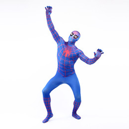 Wholesale Spider Real - Real Photo 2017 Blue and Red Lycra Spandex Full Body Zentai Suit Costume Superhero Spider-man Cosplay Costume For Halloween