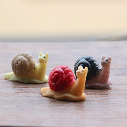 Wholesale Home Decor Dolls - sale~20Pcs snail fairy garden gnome animals moss terrarium home desktop decor crafts bonsai doll house miniatures  DIY
