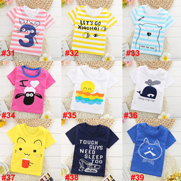 Wholesale Summer Striped Shirts For Boys - 36 styles kids t shirts summer cotton short sleeve T-shirt for boys and girls children tops hot sale 2017 new baby T-shirt wholesale