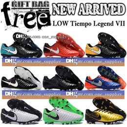 Wholesale Top Quality Leather Boots - New Leather Low Football Boots Tiempo Legend VII FG Soccer Shoes Outdoor Mens Tops Quality Tiempo Soccer Cleats Free Shipping Gift Bag