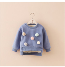 Wholesale Baby Clothes For Cheap - Wholesale- Solid Winter Warming Baby Girls Sweatshirt Blue Fur Inside hoodies Girl Sweater Winter Clothing Child For Cheap Sale