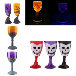 Wholesale Led Light Beer Mugs - 3 Style Luminous Halloween Mugs 3D Skull Spider Design LED Cups Flash Light Beer Red Wine Cup