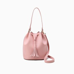 Wholesale Pure White Handbags - 2017 New High Quality Fashion Women High Grade PU Leather Handbags Shoulder Bag Pure Color Pearl Bag Handbag Tassels Decoration Bag dhY-387