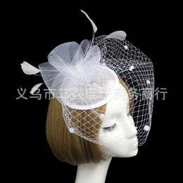 Wholesale Hair Accessories For Red Dress - 2017 Bridal Veil Accessories Feathers Hat Clip Accessories For Christmas Party Wedding Dresses Hair Wear Elegant noble White