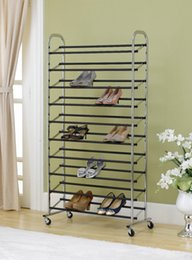 Wholesale Metal Free Shoes - Free Standing 10 Tier Shoe Tower Rack W  Wheel Chrome Metal Shoe Rack Max 50 Pair