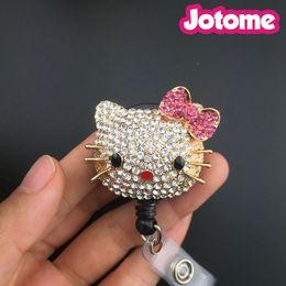 Wholesale China Reels - New Custom Bling Rhinestone 3D Hello Kitty Head with Pink Crystal Bow Badge Reel Retractable ID Badge Holder,Name Badges,Nurse Badge Reel