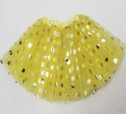 Wholesale Toddler Girls Fluffy Skirts - 2017 fluffy baby tutu skirts toddler gold polka dot tulle skirt mini tutus for girls party princess pettiskirt newborn yellow red wholesale