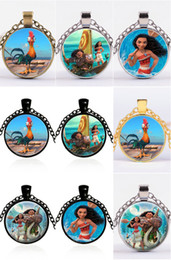 Wholesale Mixed Gemstone Pendants - Mix 9 Colors Hot Cartoon Moana necklace Silver Gold Chain Gemstone Pendants Necklaces Jewelry Children Accessories
