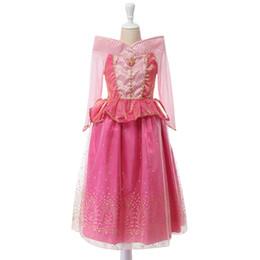 dorminhoco livre de beleza Desconto Bela Adormecida Princesa traje criança verão primavera vestido de menina rosa Princess Aurora Vestidos para festa de meninas Traje de transporte rápido gratuito