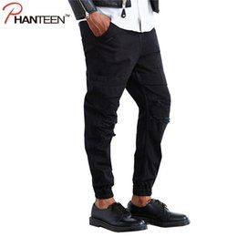 Wholesale Crotch Holes - Wholesale-Kanye Weat Justin Bieber Brand Ripped Men Jeans Dropped Crotch Joggers Casual Relaxed Jeans Man Fashion Hiphop Trousers