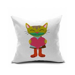 Wholesale Pink Roses Pillow Cases - American country hold pillow Black cat animal department hold pillow case Linen cushion for leaning on is black pink rose red pink orange ye