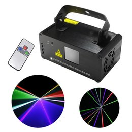 Wholesale Mini Laser Dmx - Wholesale-New IR Remote DMX 512 Mini 400mW RGB Full Color Laser Stage Lighting Scanner DJ Dance Party Show Projector Lights DM-RGB400