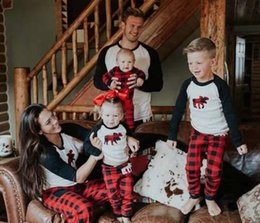 Wholesale Children S Matching Clothes - christmas matching family outfits fall boutique kids clothing baby pijama sets adult pyjamas sleepwear children plaid pajamas pjs suit night