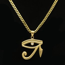Wholesale Egyptian Pendant Eye Horus - Men Women Charm Pharaoh patron saint Horus Eye Necklaces Bling Egyptian amulet Pendants Hip Hop Jewelry Gifts Chains Chokers