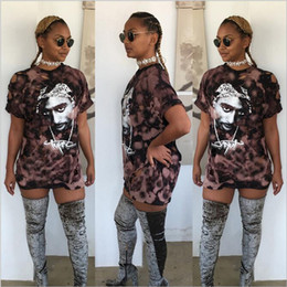 Wholesale Lining Tshirts - Wholesale- 2016 New Fashion Women summer autumn high quality retro tupac print hole short Sleeve Sexy Mini tshirts dresses Vestido Curto