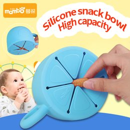 Wholesale Baby Utensils - Soft Silicone Food Cup 450ml Utensils for Children Snack Spilled Cup Leak Proof Silicone Baby Snack Box Cup Christmas Gift 2110124