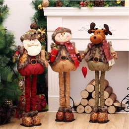 Wholesale Christmas Santa Figurines - Standing Large Retractable Santa Claus Snowman Reindeer Figurine Christmas Tree Ornaments Kids Decorations Gifts Xmas Dolls 76cm
