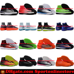 Wholesale Cheap Men High Top Shoes - Turf Football Boots MercurialX Proximo Street CR7 Football Soccer Shoes Elastico Superfly TF High Top Mercurial Soccer Cleats Boots Cheap