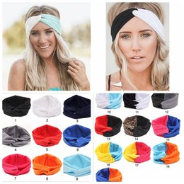 Wholesale Turban Head Wrap Women - 19 Colors Solid Twist Sport Fashion Yoga Stretch Headbands Women Turban Bandana Head Wrap Hair Accessories YYA202