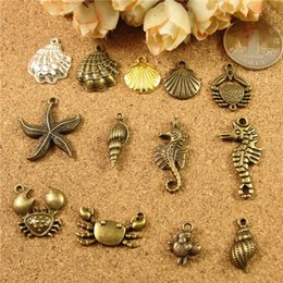 Wholesale Wholesale Seahorse Charm - DIY handmade jewelry material package accessories sea creatures starfish crab shell charms, seahorse conch pendants nautical item tag mail