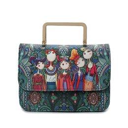 dd1f759c54 Sacchetti di spalla di formato di samll di stampa delle donne stampate del  fumetto del cuoio verde vintage dell'annata delle borse delle signore delle  borse ...