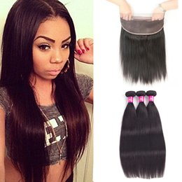 Wholesale Cheapest Prices - 360 lace frontal with bundles brazilian bundles with frontal brazilian Straight virgin hair Cheapest Price Super Soft