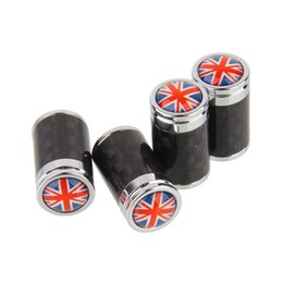 Wholesale China Carbon Fiber - 4PCS High Quality Car Stylish Carbon Fiber Tire Valve Caps Replacement with China Italy England Flag Union Jack