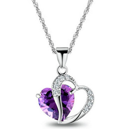 Wholesale Big Coin Necklace - Wholesale- 2016 New Design Wholesale Jewelry Top Quality Silver Plated Big Heart Crystal Zircon Statement Necklace Women x295