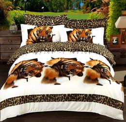Wholesale White Tiger Bedspreads - 3D Tiger Bedding sets quilt duvet cover set bed in a bag sheet spread linen bedspread doona bedset Queen size Full double 4PCS