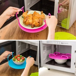 Wholesale Modern Kitchen Gadgets - Wholesale- Multifunction Microwave Oven Rack Layered Heating Pallet Racks Plate Racks Dish Care Plastic Stand Kitchen Gadgets