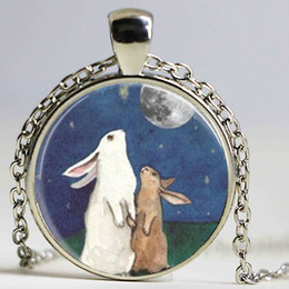 Wholesale Necklace Full Moon - Steampunk Rabbit Necklace Full Moon Jewelry I Love You to the Moon and Back Art Pendant Necklace Gift Chain men women antique