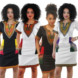 Wholesale Kaftan Dresses Wholesale - Bohemian Sexy Dresses Dashiki Bodycon Dress Women Tribe Kaftan Fashion African Tops Slim Casual Dress Deep V Print Short Sleeve Dress D541