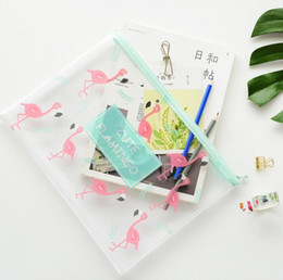 a5 a4 Promo Codes - Wholesale- Lovely Flamingo A4 A5 B6 File Bag Document Bag A4 File Folder Stationery Filing Production
