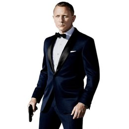 Wholesale Navy Costumes For Men - Custom Made costume homme Slim Fit Groomsman Suit For Men Navy Blue Side Vent Best Men Suit Wedding Men's Suits(Jacket+Pants)