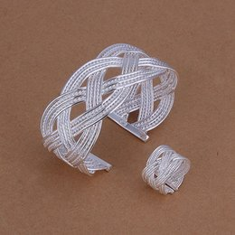 Wholesale Mesh Bracelets China - best gift Large mesh silver plated jewelry sets for women WS284,nice 925 silver necklace bracelet earring ring set