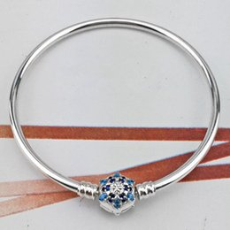 Wholesale European Blue Enamel Rhinestone - Beautiful Genuine 100% 925 Sterling Silver Blue Rhinestone Snowflake Clip Bangle Fit European Charm Bead Authentic Luxury DIY Jewelry Gift