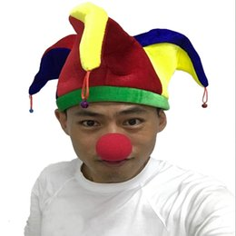 Wholesale Beanie Hat Horns - Three Horns Cplors Hat Funny Multicolor Halloween Jester Clown Mardi Gras Party Costume Hat With Bells